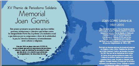 Abierta la participación al Premio de Periodismo Solidario «Memorial Joan Gomis 2020»